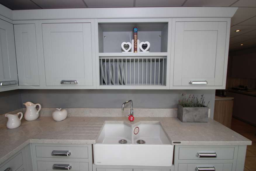 how to install a kitchen sink in a new countertop platinum grey in frame oak ex display kitchen mw0417jj 9962