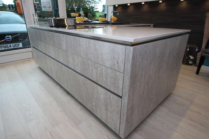 RECENTLY REDUCED: RRP £21,495 Systemat (Hacker) German Natural Concrete  White Ex Display Kitchen with Appliances JW0717KDC2