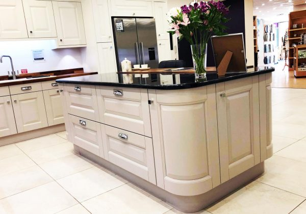 Large Mackintosh Sculptured Ex Display Kitchen with Granite Workstops curved unit