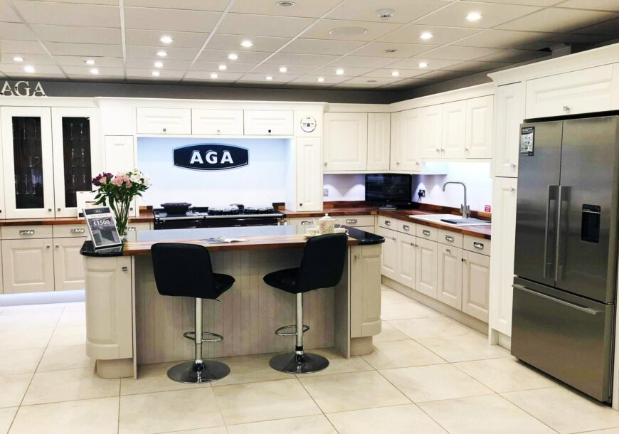 Large Mackintosh Sculptured Ex Display Kitchen with Granite Workstops - Large island with breakfast bar