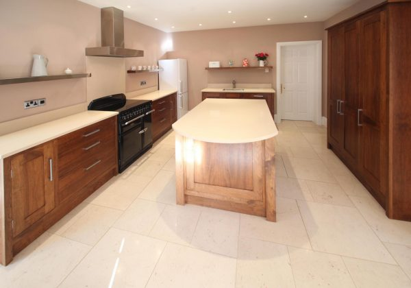 Bespoke Free Standing Handmade Walnut In Frame Used Kitchen With Island Appliances Included Kent