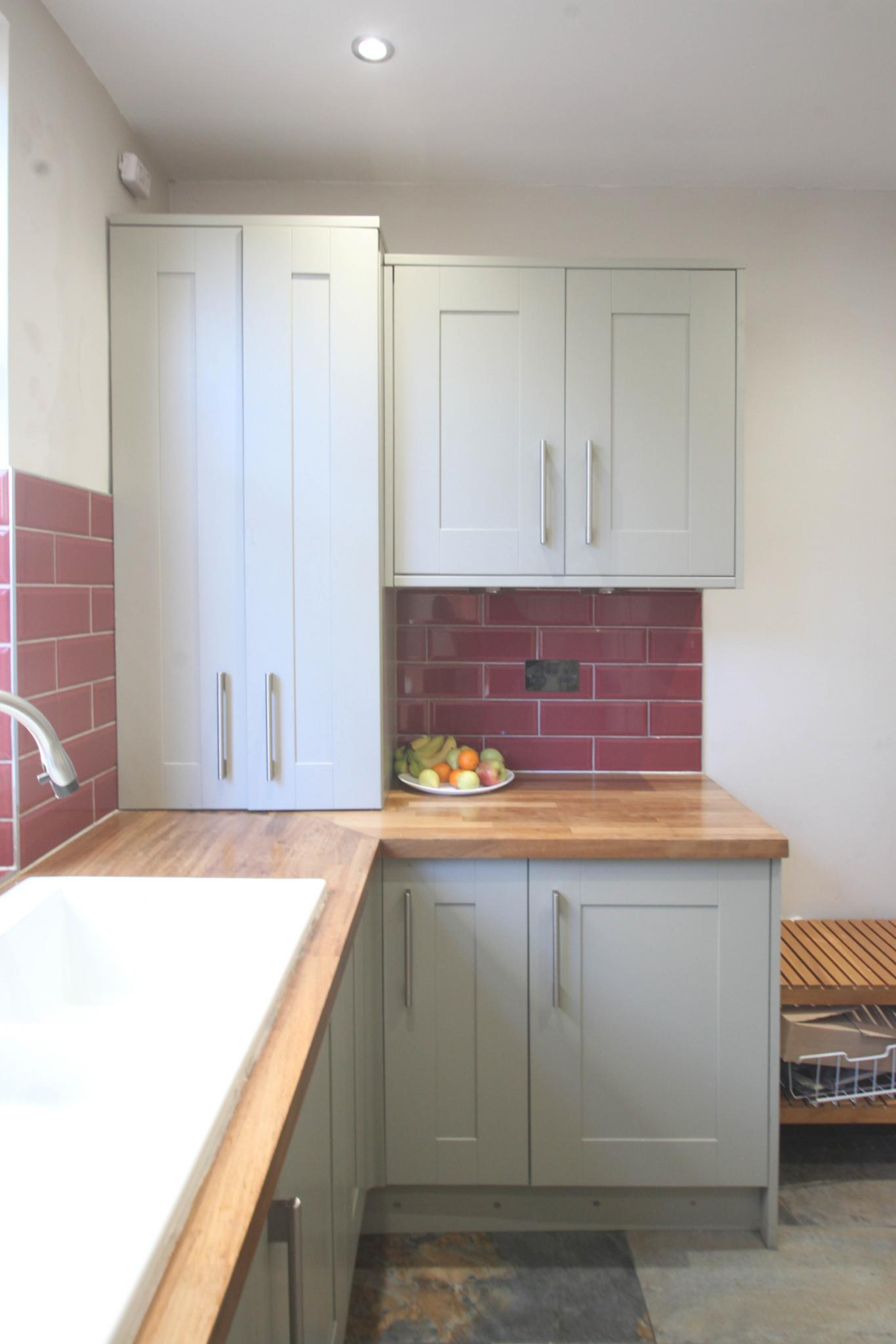 Traditional Shaker Style Used Kitchen With Wooden Worktops