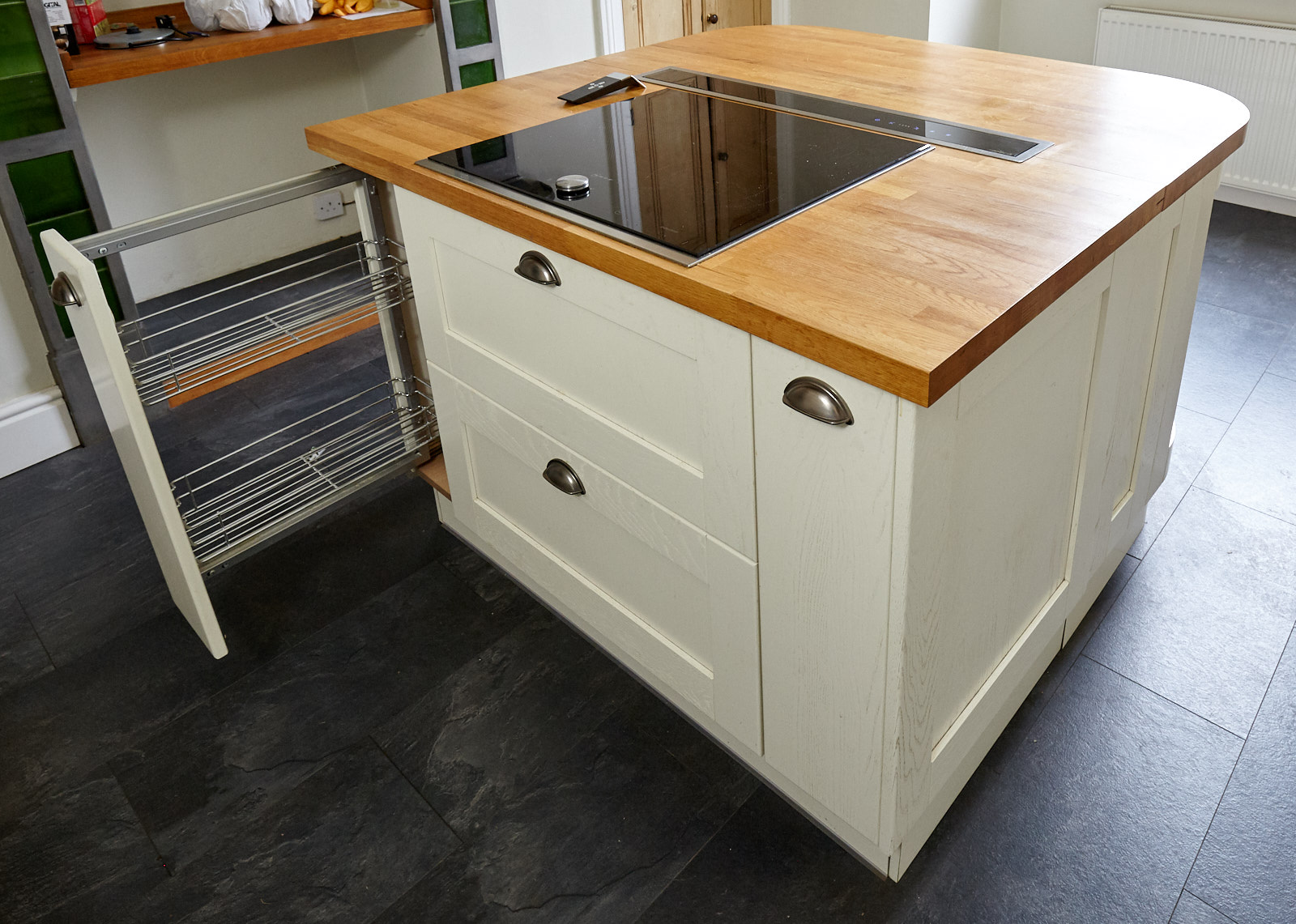 Modern Painted Shaker Style Used Kitchen with Island, Cheshire