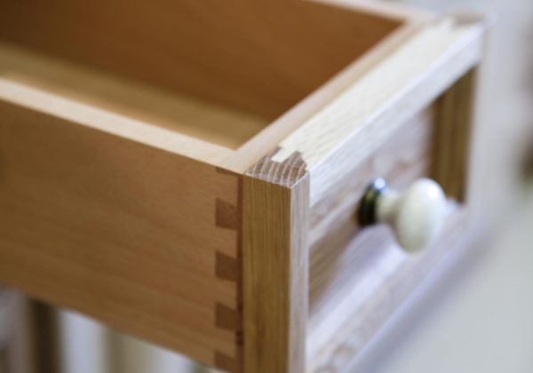 Classic White Oak Ex Display Kitchen, Beech Drawers Close Up
