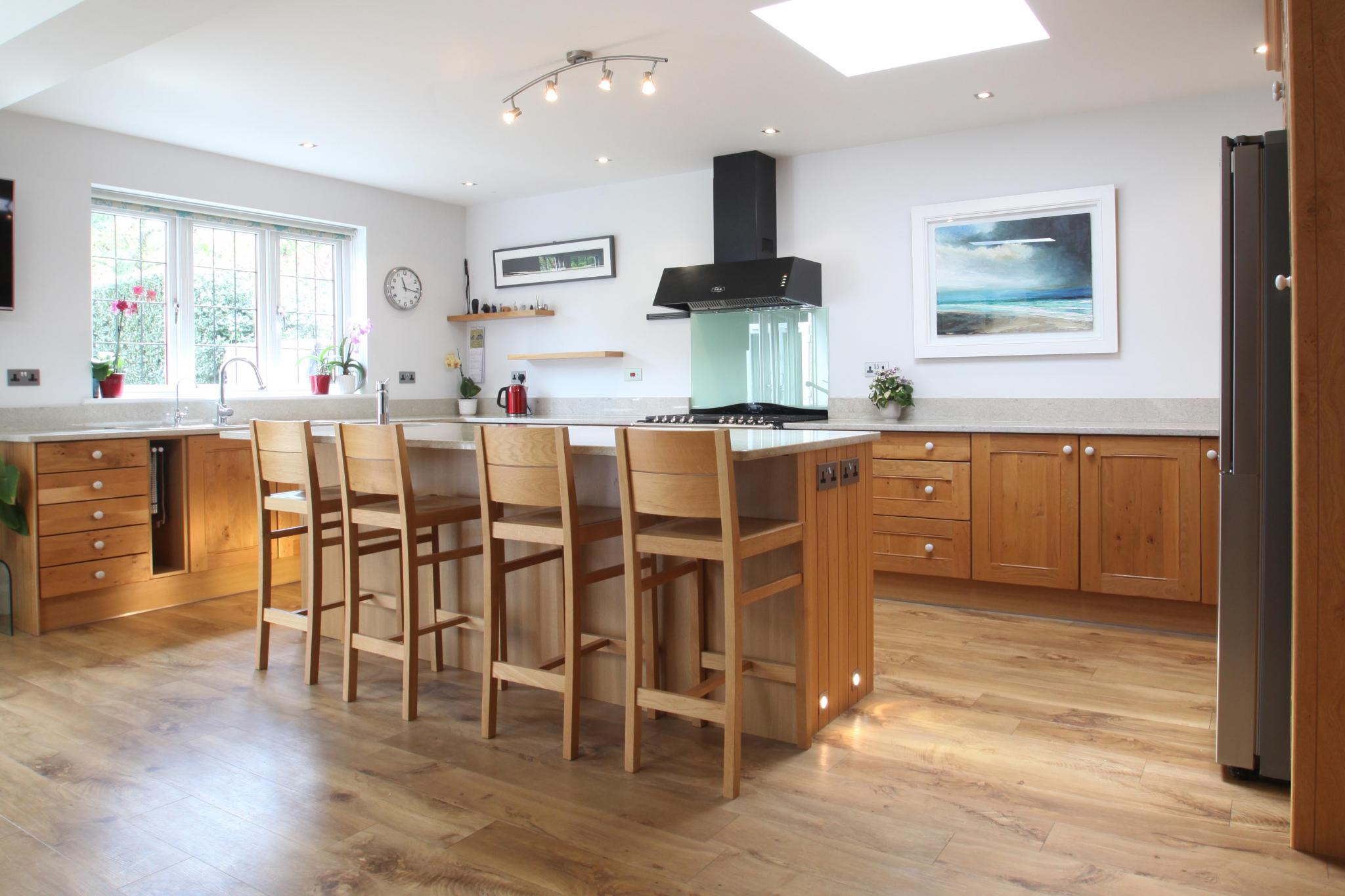classic shaker used kitchen with island breakfast bar and