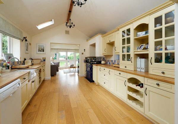 Farmhouse Painted Shaker Kitchen with Wooden Worktops