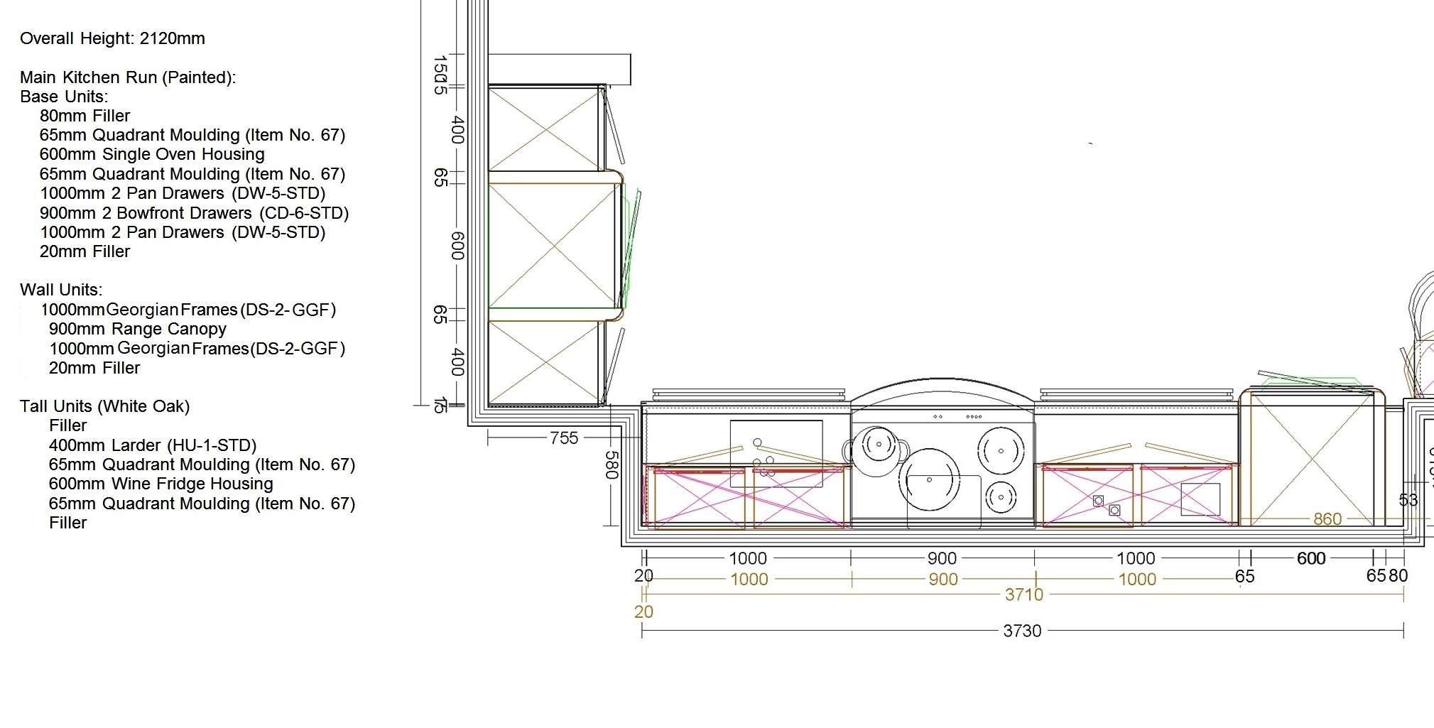 Uform Oak and Painted Stone Ex Display Kitchen Plan