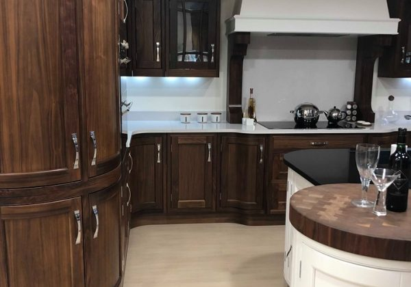 Walnut And Brilliant White In frame Kitchen