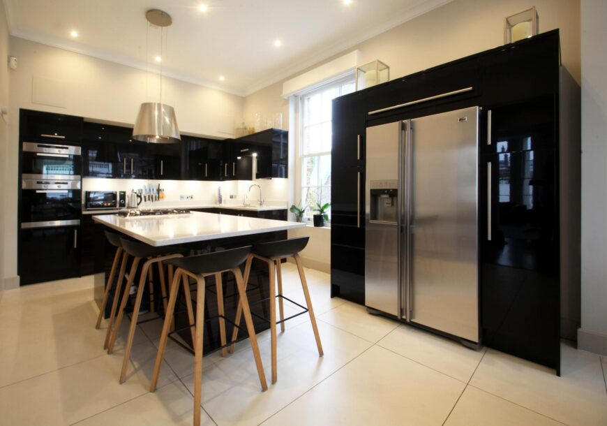 Gloss Used Kitchen With Island, MIELE Appliances, London