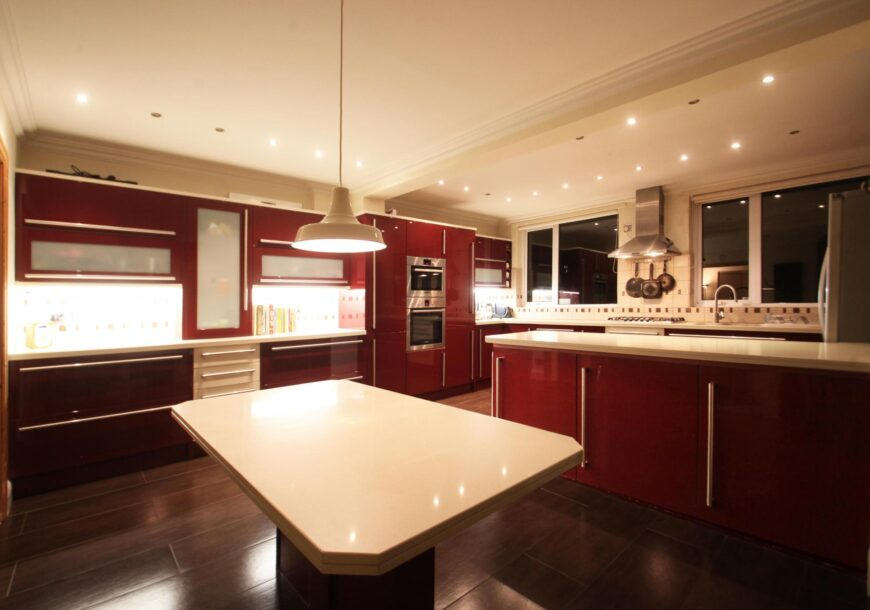 Approved Used Kitchen, Very Large Modern Gloss, Quartz Worktops, London