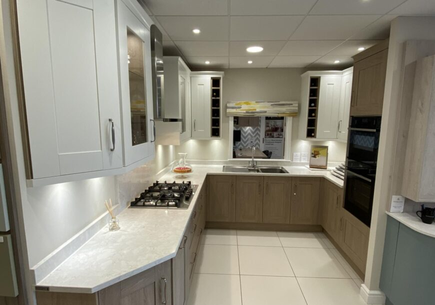 Ex Display Kitchen, Sheraton Oak and Painted White Shaker, South